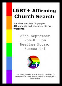 Young Campaigner LGBTQU+ affirming churches flyer